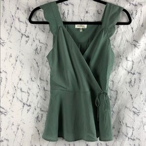 Monteau Scalloped Cinched Green Blouse Tank Top